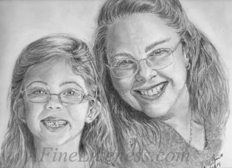 'Dynamic Duo' - Commissioned Graphite portrait by Lori Del Genis of a smiling mother and her little girl. The mother wears glasses and the little girl has a gap between her newly grown in grown-up teeth.