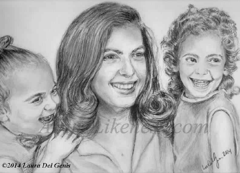 Family (+ self) portrait in graphite by Lori Del Genis. Portrait shows Lori, her sister and their mom. Created for Mom's birthday present.