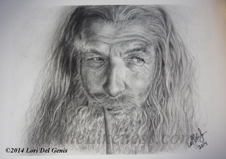 'For Wizards Are Subtle' - Graphite portrait by Lori Del Genis of Gandalf fan art as portrayed by actor Sir Ian McKellen. Gandalf is a character from the series 'The Lord of the Rings' by J.R.R. Tolkien. He is shown smoking a pipe and smiling amusedly.