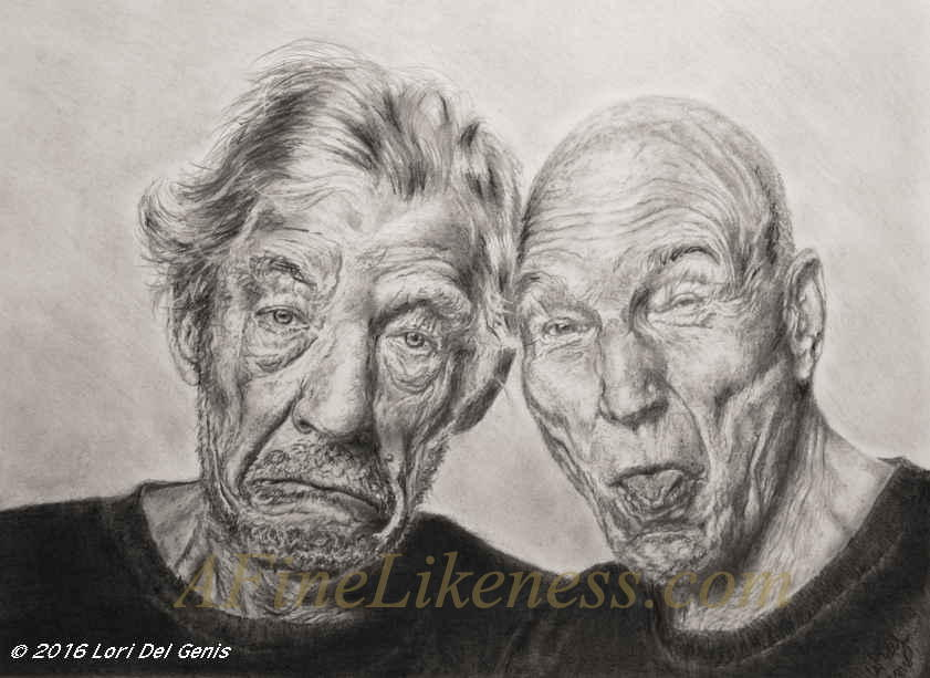 'Tragedy and Comedy' - Graphite and charcoal portrait by Lori Del Genis of Sir Ian McKellen and Sir Patrick Stewart fan art. Both are wearing black t-shirts and making comical faces at the viewer.