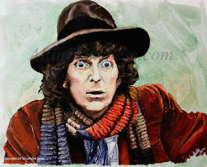 'The Fourth Doctor' - Oil portrait by Lori Del Genis of the Fourth Doctor Who fan art as portrayed by actor Tom Baker. He shown wearing a hat and his famous knit scarf.