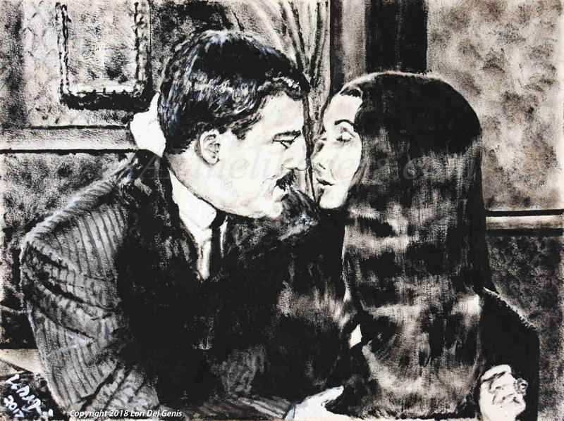 'A Love Like No Other' - Dry brush oil portrait by Lori Del Genis of Gomez and Morticia fan art from the TV series, 'The Addams Family'. Gomez and Morticia are portrayed by actors John Astin and Caroline Jones. Gomez is holding Morticia in his arms and she is cradling his head with one of her hands.