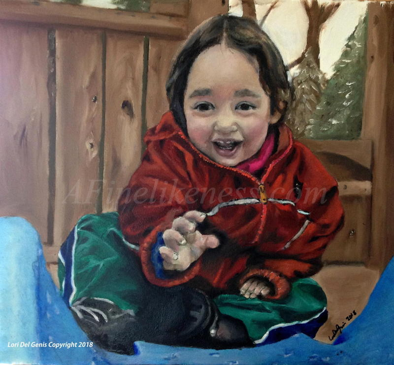 'Diana, aged 2' - Commissioned Oil portrait by Lori Del Genis of a little girl sitting at the top of a tree house slide. She is wearing a bright red jacket and a big smile and is reaching out toward the viewer.