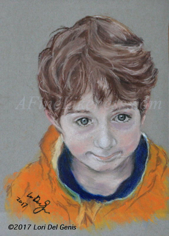 'Caleb, aged 5' - Soft pastel portrait by Lori Del Genis of a little boy with brown hair and blue eyes who is wearing an orange jacket and looking up at the viewer.