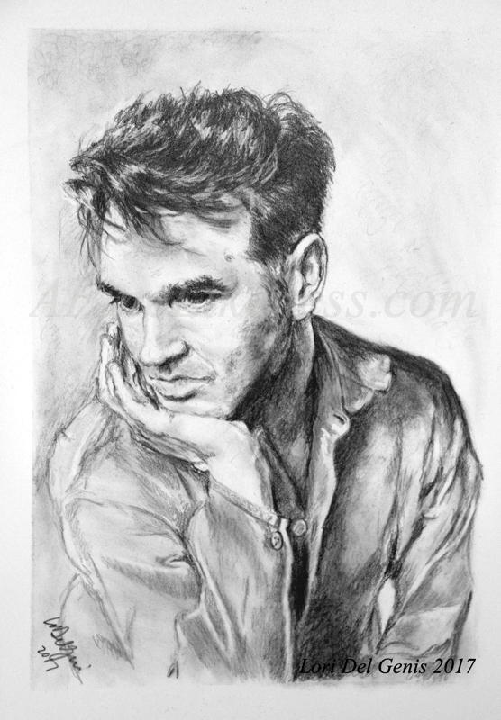 Charcoal and graphite portrait by Lori Del Genis of Steven Patrick Morrissey fan art. Morrissey was the lead singer of the music group 'The Smiths' and is shown here leaning his chin on his hand and looking bored.