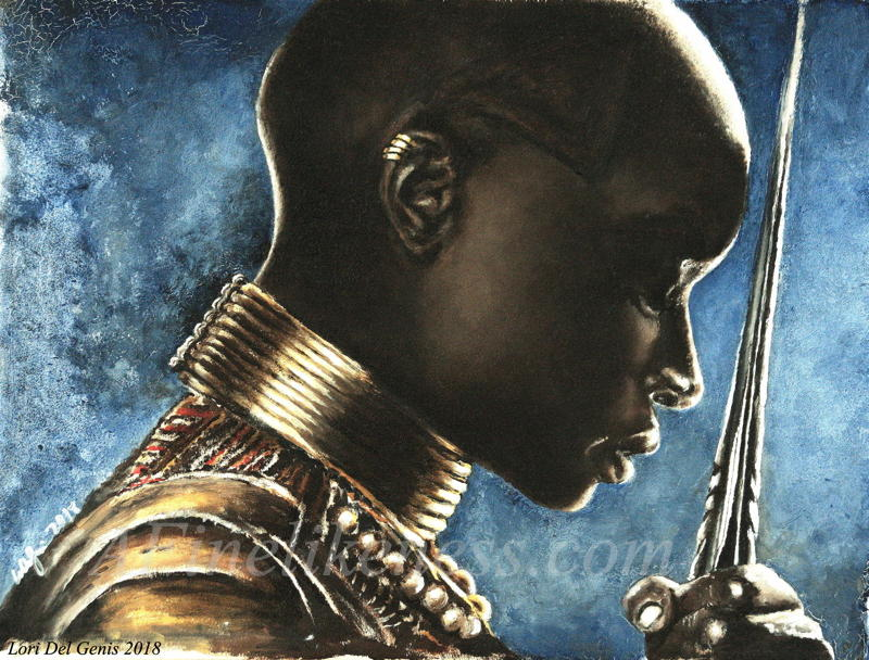 'Without Question' - Oil portrait by Lori Del Genis of Okoye fan art from 'Black Panther' as portrayed by actor Danai Gurira. Okoye is wearing her battle armor and is holding her spear with her head bowed. [Winner, Judge's Choice Award, Boskone Art Show 2019]