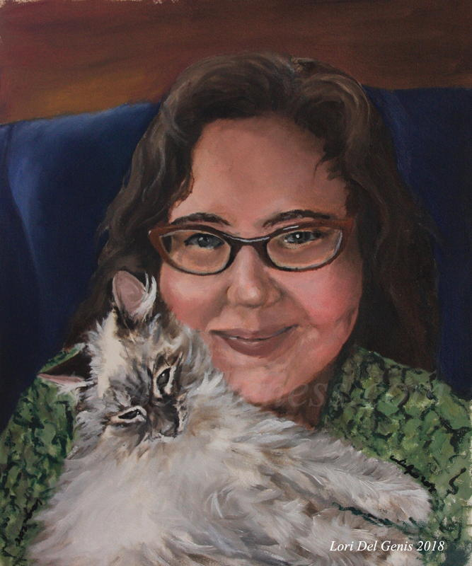 'Da FLOOF' - Oil portrait by Lori Del Genis of a white floofy kitten and her person, Meredith. The human is smiling and wearing glasses, the kitten is also smiling and being floofy.