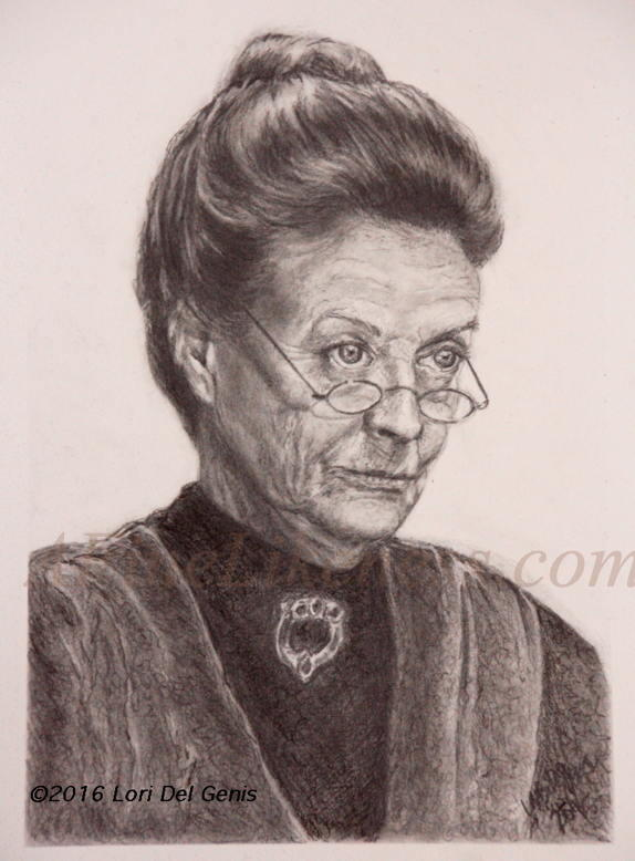 'Professor Minerva McGonagall' - Graphite portrait by Lori Del Genis of fan art of Prof. Minerva McGonagall from 'Harry Potter' as portrayed by actor Dame Maggie Smith. Prof, McGonagall is wearing her hair pulled back in a bun and is looking severely over her glasses.
