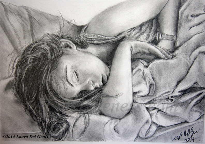 'Nighty-Night'- Commissioned Graphite portrait by Lori Del Genis of a sleeping little girl. The girl is curled up with her arm around her head in the midst of bunched-up bedsheets.
