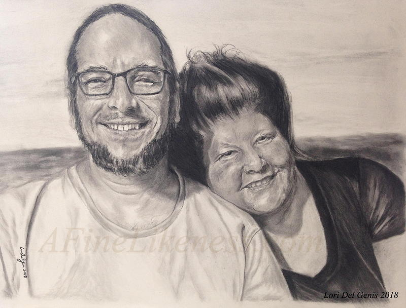 'By the Beautiful Sea' - Commissioned Pencil and charcoal portrait by Lori Del Genis of Jay and Mare, two smiling happy people together in front of an ocean view.