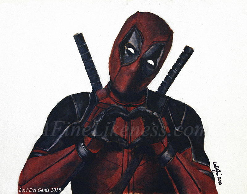'Love You!' - Oil portrait by Lori Del Genis of Deadpool fan art as portrayed by actor Ryan Reynolds. Deadpool is holding his hands in a heart shape in a gesture of 'I Love You' to the viewer.