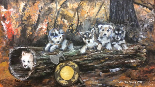 'A Call to Arms' Wall art of five dire wolf pups in the woods. An axe and shield lean against a log. (Lori Del Genis, 2019)