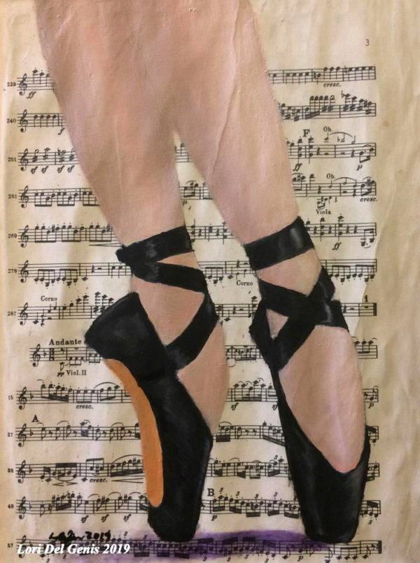 'Balance' - A ballerina's feet in black toe shoes on vintage sheet music; oil painting wall or desk art by Lori Del Genis (2019)