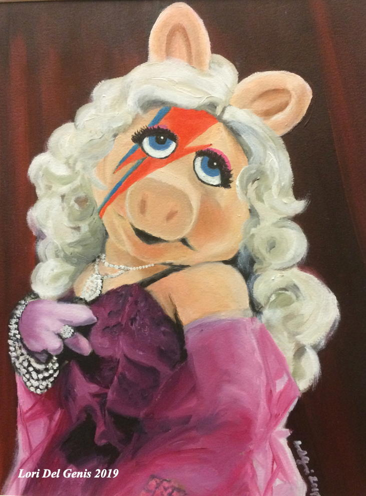 'Piggy Stardust' - Pop art of Miss Piggy in a pink gown with the Aladdin Sane lightning bolt on her face. (Lori Del Genis, 2019).