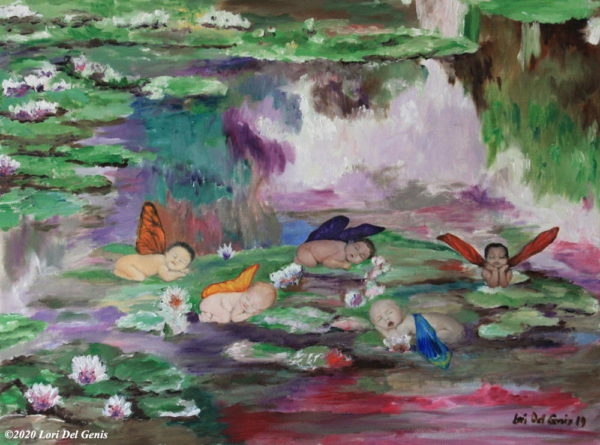 'Les Petits Nymphéas' after Monet's 'Water Lilies'. Sleeping brightly winged cherubs doze in a lily pond. Oil painting by Lori Del Genis.