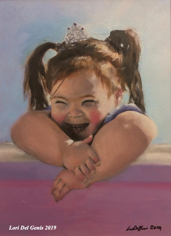 'Princess Cheyanne' - oil portrait commission by Lori Del Genis of a beaming little girl in ponytails and a tiara sitting in bright sunlight.