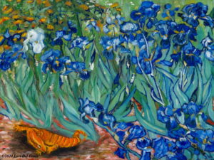 'Salamander Dreams' after Van Gogh's 'Irises' depicts a baby salamander dozing beneath the garden flowers. Oil painting by Lori Del Genis.