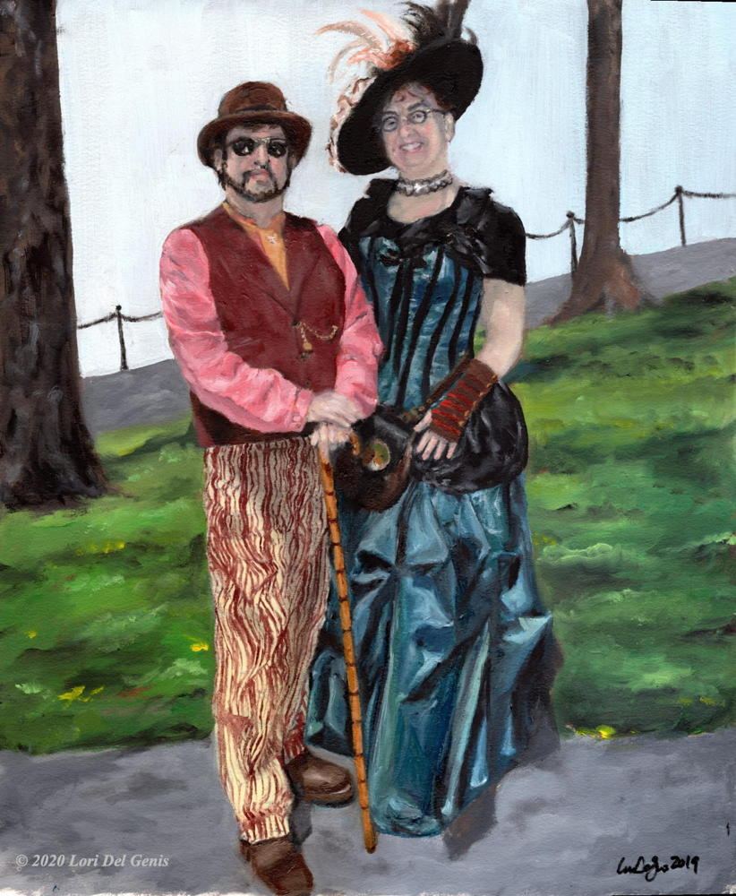 'Sunday Stroll' depicts a smiling couple in fancy colorful costumes strolling together in a sunlit park. Oil painting by Lori Del Genis.