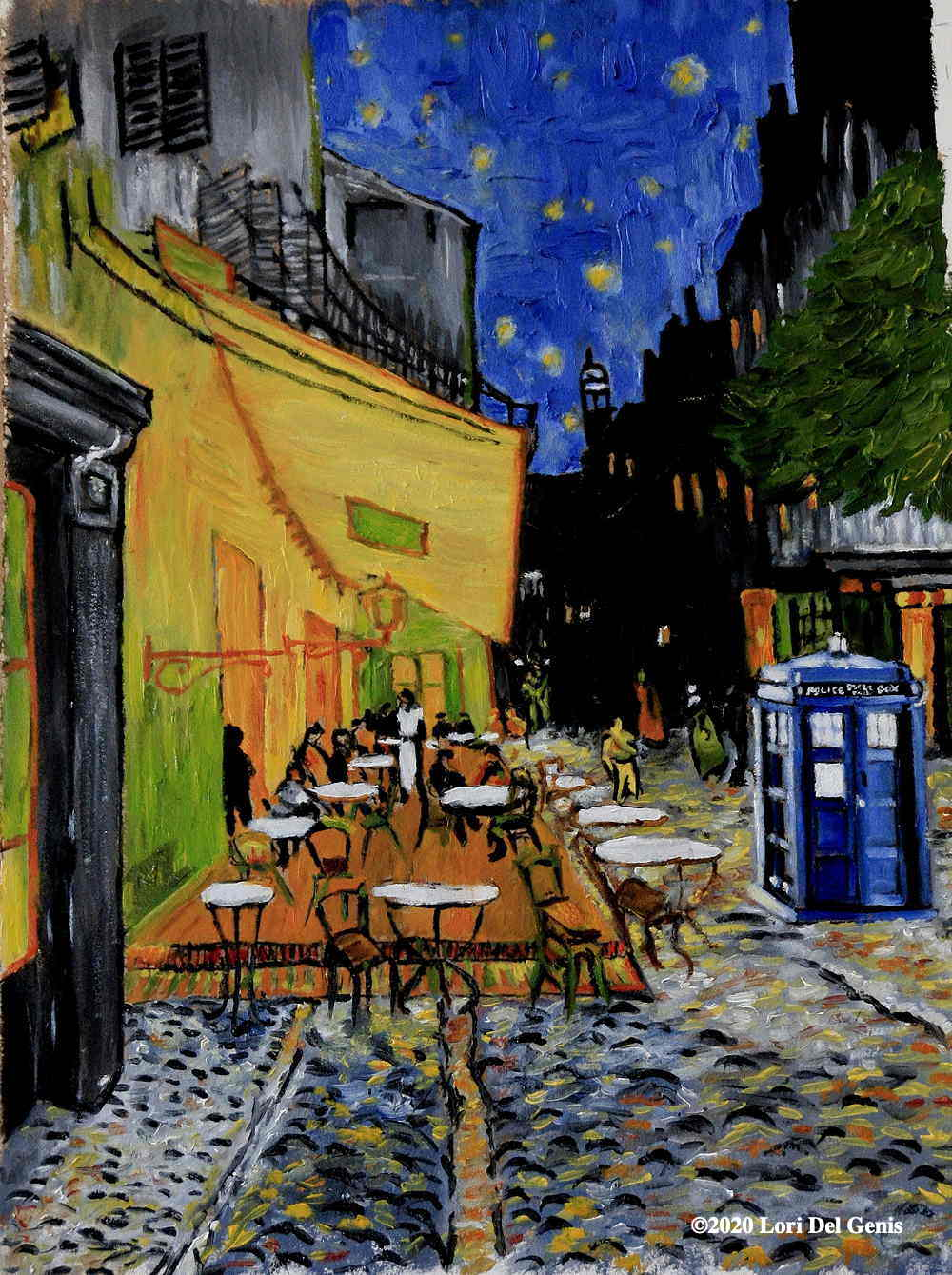'Evening Sojourn' Wall art homage to Van Gogh's 'Café Terrace at Night'; a police box sits to the right. (Lori Del Genis, 2019)