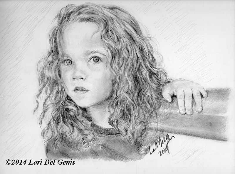 Roo, aged 3 is a graphite and charcoal commission by Lori Del Genis (2014)