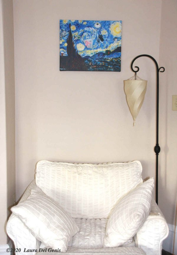 "'Starry All-Nighter' size 16""x 20"" canvas print shown in situ. Original artwork by Lori Del Genis (2020)"