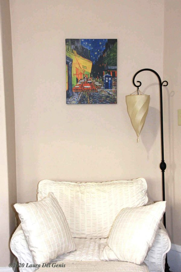 "'Evening Sojourn' size 16""x 20"" canvas print shown in situ. Original artwork by Lori Del Genis (2020)"